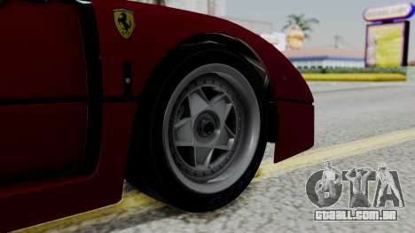 Ferrari F40 1987 with Up Lights IVF para GTA San Andreas traseira esquerda vista