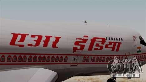 Boeing 747-200 Air India VT-ECG para GTA San Andreas vista traseira