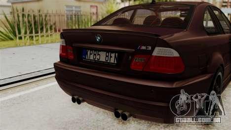 BMW M3 E46 2005 Stock para GTA San Andreas vista traseira