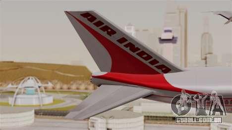 Boeing 747-200 Air India VT-ECG para GTA San Andreas traseira esquerda vista