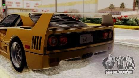Ferrari F40 1987 HQLM para GTA San Andreas vista traseira