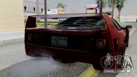 Ferrari F40 1987 with Up Lights IVF para GTA San Andreas vista traseira