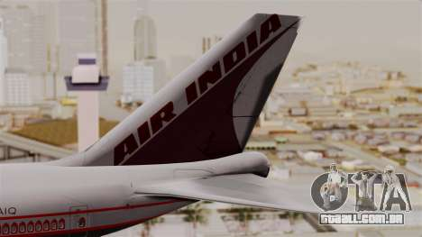 Boeing 747-400 Air India Old para GTA San Andreas traseira esquerda vista