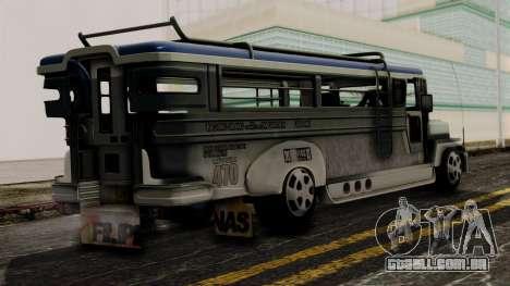 Milwaukee Motors Custom Jeepney para GTA San Andreas esquerda vista