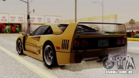 Ferrari F40 1987 HQLM para GTA San Andreas esquerda vista