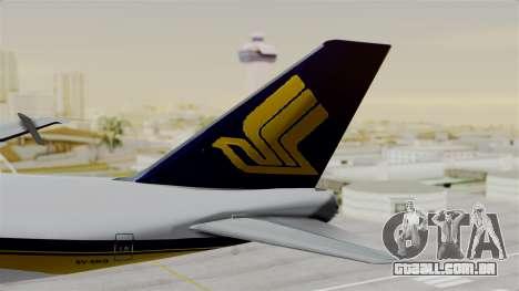 Boeing 747 Singapore Cargo para GTA San Andreas traseira esquerda vista