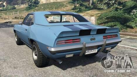 GTA 5 Chevrolet Camaro SS 350 1969 traseira vista lateral esquerda