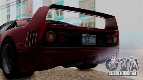Ferrari F40 1987 without Up Lights IVF para GTA San Andreas vista interior