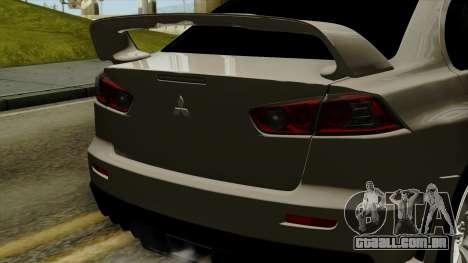 Mitsubishi Lancer Evolution X FQ400 Pro para GTA San Andreas vista traseira
