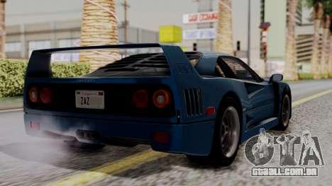 Ferrari F40 1987 with Up without Bonnet HQLM para GTA San Andreas esquerda vista