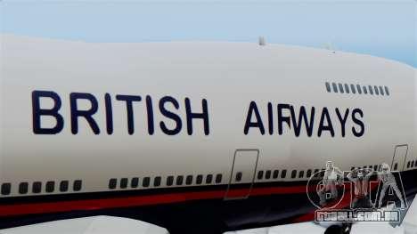 Boeing 747 British Airlines (Landor) para GTA San Andreas vista traseira