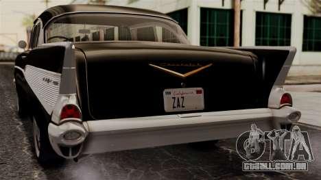 Chevrolet Bel Air Sport Coupe (2454) 1957 IVF para GTA San Andreas vista traseira