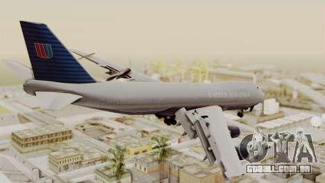 Boeing 747 United Airlines para GTA San Andreas esquerda vista