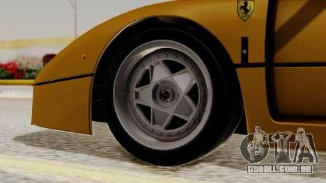 Ferrari F40 1987 HQLM para GTA San Andreas traseira esquerda vista