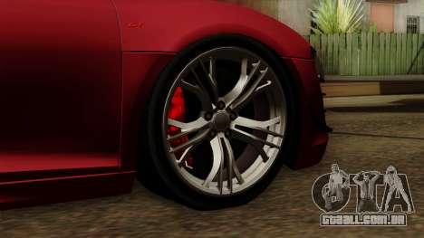 Audi R8 GT Spyder 2012 para GTA San Andreas traseira esquerda vista