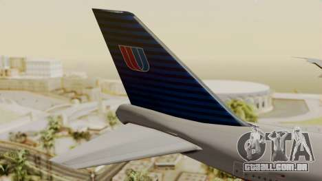 Boeing 747 United Airlines para GTA San Andreas traseira esquerda vista