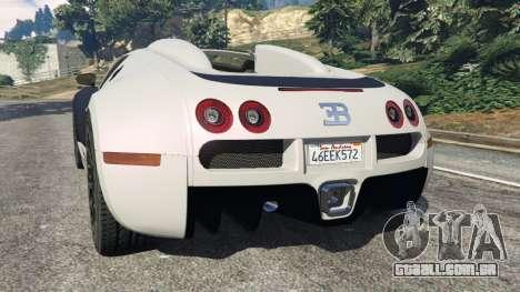 GTA 5 Bugatti Veyron Grand Sport v4.0 traseira vista lateral esquerda