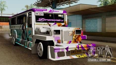 Znranomics - Costum Jeepney (Gabshop) para GTA San Andreas vista direita