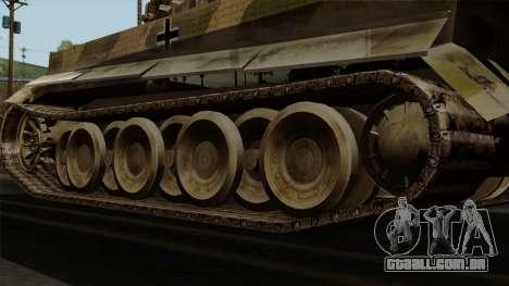 Panzerkampfwagen VI Ausf. E Tiger No Interior para GTA San Andreas traseira esquerda vista