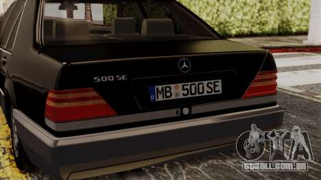Mercedes-Benz W140 500SE 1992 para GTA San Andreas vista traseira