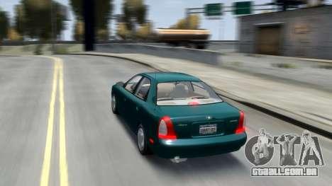 Daewoo Nubira I Sedan SX USA 1999 para GTA 4 vista inferior