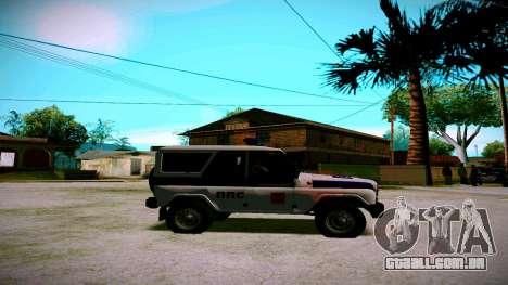 UAZ-caçador de PPP Serviço para GTA San Andreas vista traseira