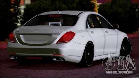 Mercedes Benz S63 W222 Itens De Qualidade para GTA San Andreas traseira esquerda vista