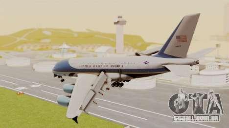 Airbus A380 Air Force One para GTA San Andreas esquerda vista