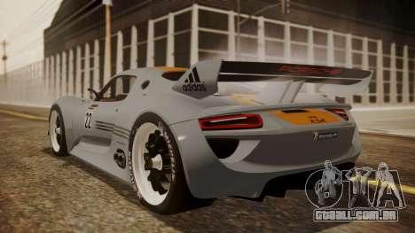 Porsche 918 RSR para GTA San Andreas esquerda vista