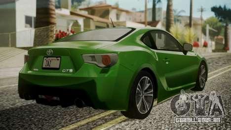 Toyota GT86 2012 para GTA San Andreas esquerda vista