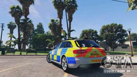GTA 5 Audi A4 Avant 2013 British Police traseira vista lateral esquerda