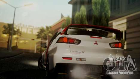 Mitsubishi Lancer Evolution X 2015 Final Edition para GTA San Andreas esquerda vista