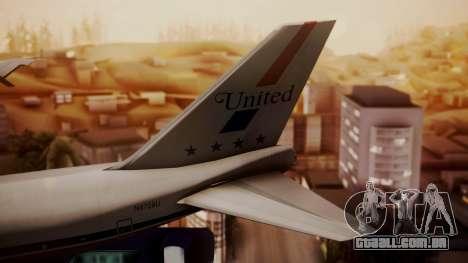 Boeing 747-100 United Airlines Friend Ship para GTA San Andreas traseira esquerda vista