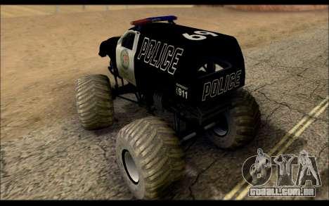 The Police Monster Trucks para GTA San Andreas traseira esquerda vista