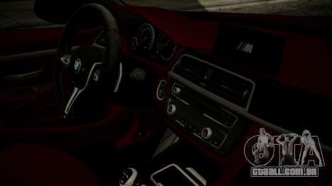 BMW M4 Coupe 2015 Walnut Wood para GTA San Andreas vista direita