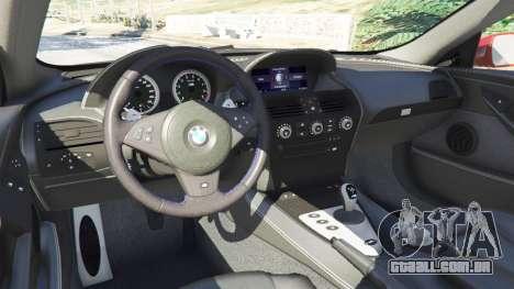 GTA 5 BMW M6 (E63) vista lateral direita