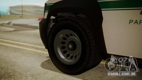 GTA 5 Declasse Granger Park Ranger para GTA San Andreas traseira esquerda vista