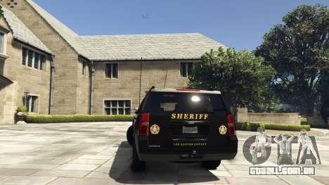 GTA 5 Chevrolet Suburban Sheriff 2015 traseira vista lateral esquerda