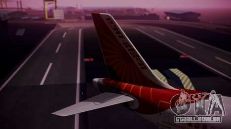 Airbus A319-100 Air India para GTA San Andreas traseira esquerda vista