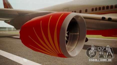 Boeing 747-8I Air India para GTA San Andreas vista direita