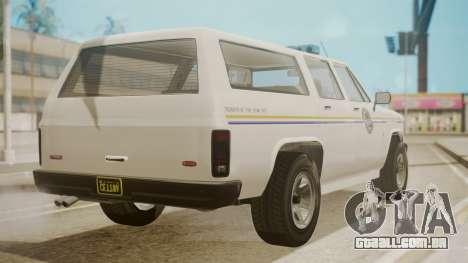 GTA 5 Declasse Rancher XL Police IVF para GTA San Andreas esquerda vista