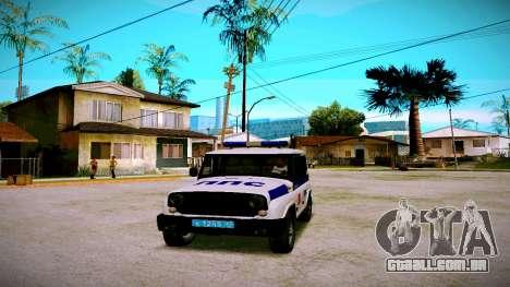 UAZ-caçador de PPP Serviço para GTA San Andreas traseira esquerda vista