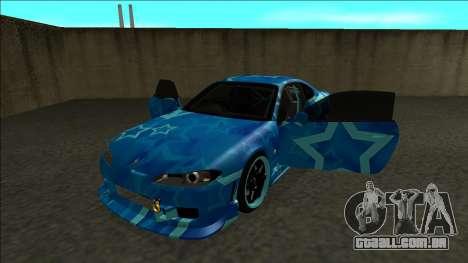 Nissan Silvia S15 Drift Blue Star para GTA San Andreas vista traseira