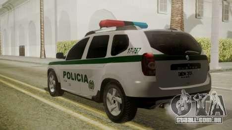 Renault Duster Patrulla Policia Colombiana para GTA San Andreas esquerda vista