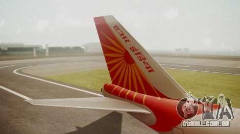Boeing 747-8I Air India para GTA San Andreas traseira esquerda vista