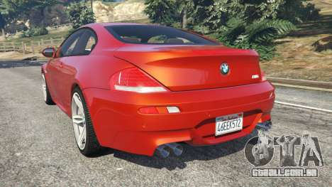 GTA 5 BMW M6 (E63) Tunable v1.0 traseira vista lateral esquerda