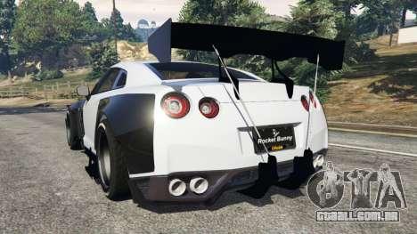 GTA 5 Nissan GT-R (R35) [RocketBunny] v1.2 traseira vista lateral esquerda