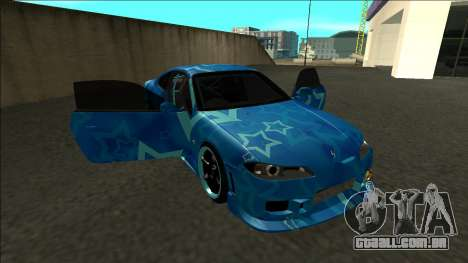 Nissan Silvia S15 Drift Blue Star para vista lateral GTA San Andreas