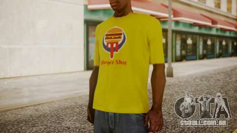 Burger Shot T-shirt Yellow para GTA San Andreas segunda tela