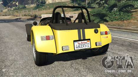 GTA 5 Caterham Super Seven 620R v1.5 [yellow] traseira vista lateral esquerda